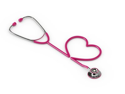 3d rendered pink stethoscope with heart isolated over white background